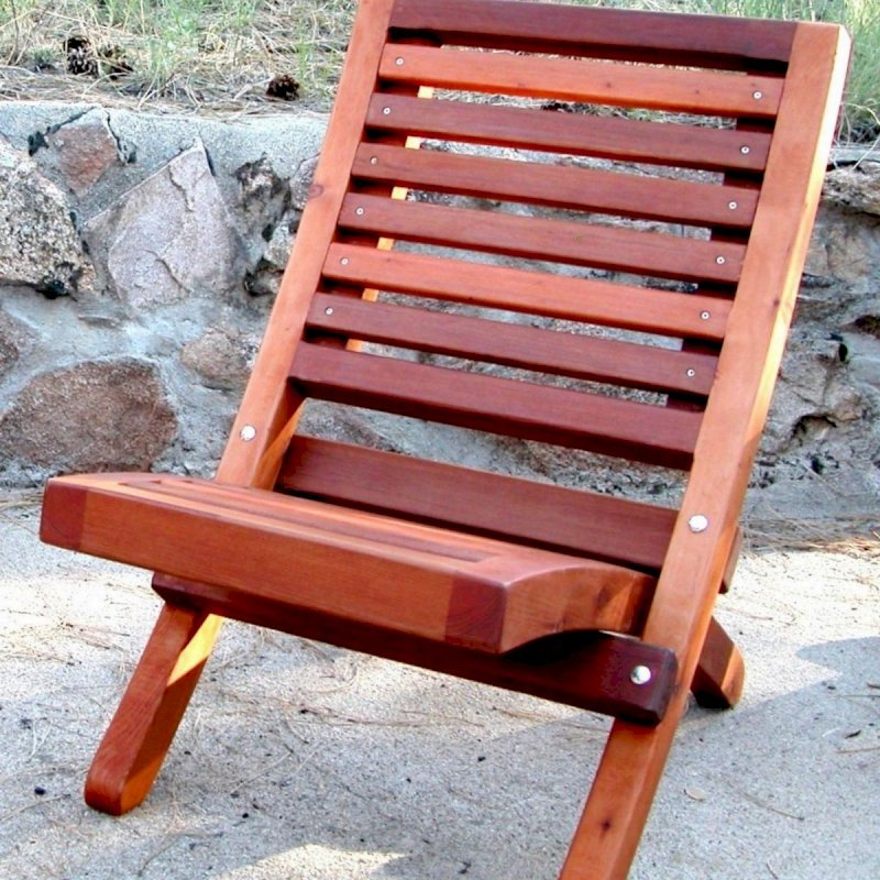 Portable Beach Chair (Options: Old Growth Redwood, Transparent Premium Sealant).