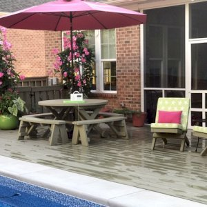 Portable Beach Chairs (Options: Douglas-fir, Sherwin Williams, SW7737 Meadow Trail Stain by Custom Request). Photo also shows a Round Picnic Table Set. Photo Courtesy of Pamela Fortier of Chapel Hill, North Carolina.