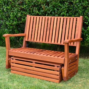 Porter Thayer Glider (Options: Double, Mature Redwood, No Cushion, Transparent Premium Sealant).