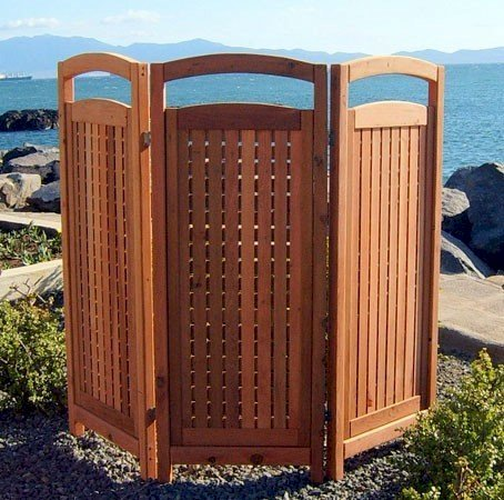"Privacy Screen (Options: 3 Panels, 6' H, Old-Growth Redwood, 5"" H Window Opening, 3/8"" openings, No Boots, Transparent Premium Sealant). Photo shows panels opened to about a 70 degree angle for maximum stability without boots."
