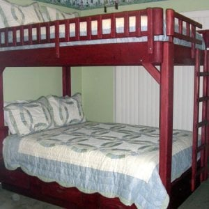 Queen Over Queen Punta Banda Bunk Bed with a Climbing Ladder and Headboard on Opposite Ends, Standard Style, Douglas-fir with Cherry Finish (Mattresses and bedding not included.)