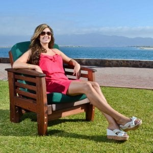 "Reclining Easychair (Options: Old-Growth Redwood, 4"" Cushion, Transparent Premium Sealant). Photo shows upright position, Photo: Courtesy of Estero Beach Resort, Ensenada, México and Ms. Hayley Hall of Sonoma Co., CA."