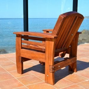 Reclining Easychair (Options: Mature Redwood, No Cushion, Transparent Premium Sealant). Photo shows upright position.