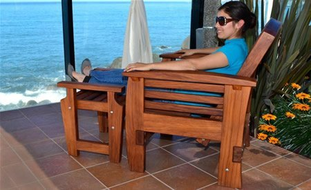 Reclining Redwood Easy Chair