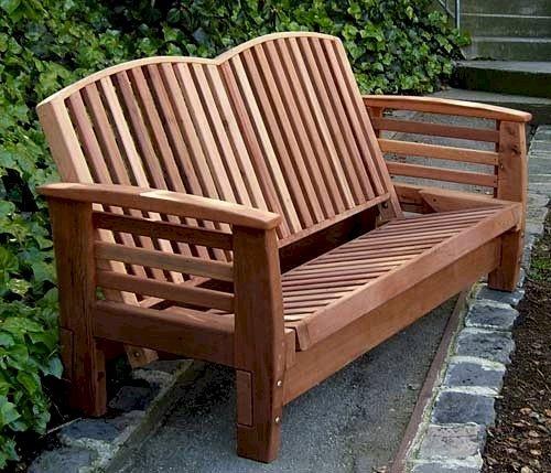 Reclining Loveseat (Options: Redwood, No Cushion, Transparent Premium Sealant). Upright Position.