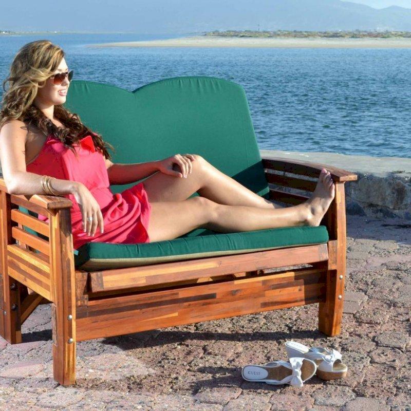 Reclining Loveseat (Options: Mosaic Eco-Wood, Forest Green Cushion Fabric, Transparent Premium Sealant). Fully Upright Position. Photo Courtesy of Estero Beach Resort of Ensenada, México.