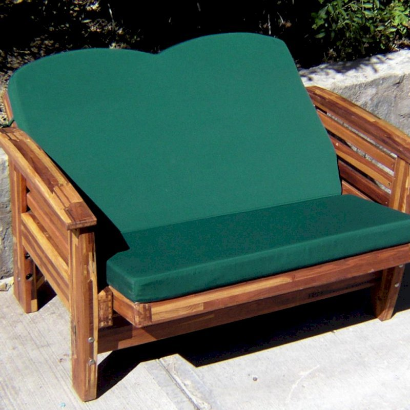 Reclining Loveseat (Options: Mosaic Eco-Wood, Forest Green Cushion, Transparent Premium Sealant). Fully Reclined Position.