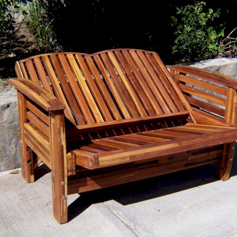 Reclining Loveseat (Options: Mosaic Eco-Wood, No Cushion, Transparent Premium Sealant). Reclining Position.