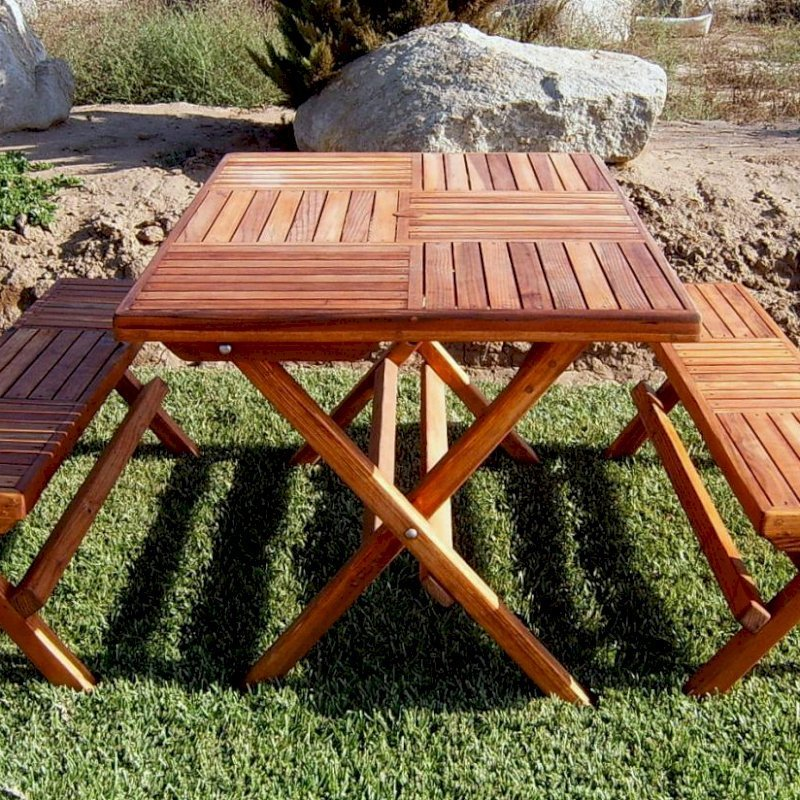 "Rectangular Folding Picnic Table (Options: 52.5"" L, 35"" W, Folding Side Benches, Redwood, 2 Half Length Benches/Side, Standard Tabletop, Checkerboard Design, Squared Corners, Umbrella Hole & Plug (1 5/8""), Transparent Premium Sealant)."