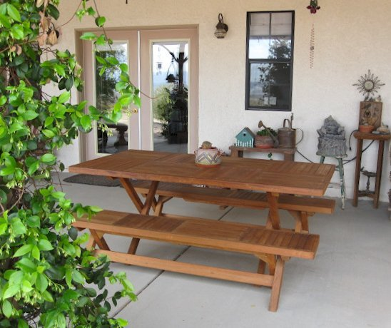 "Rectangular Folding Picnic Table (Options: 72"" L, 24"" W, Folding Side Benches, Old-Growth, 1 Full Length Bench/Side, Seamles Tabletop, Checkerboard Design Tabletop, Squared Corners, No Umbrella Hole, Transparent Premium Sealant). Photo Courtesy of Ms. Christine K. of Twentynine Palms, CA."