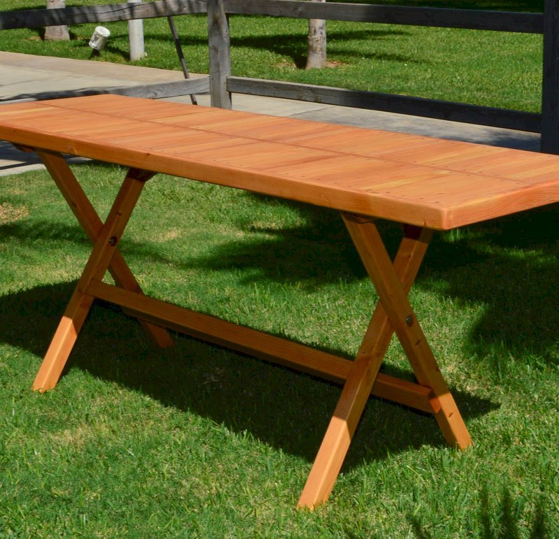 "Rectangular Folding Picnic Table (Options: 72"" L, 24'' W, No Seating, Douglas-fir, Seamless Tabletop, Boards Laid in the Same Direction, Squared Corners, No Umbrella Hole, Transparent Premium Sealant)."