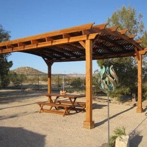 Rectangular Folding Picnic Table below Arched Pergola (Options: 72