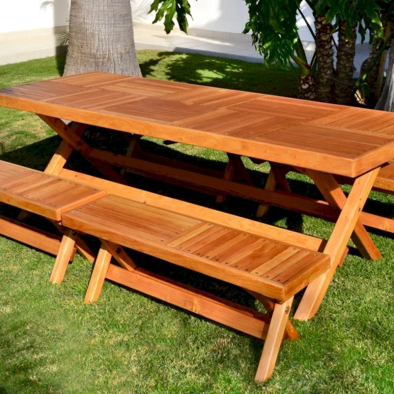 "Rectangular Folding Picnic Table (Options: 96"" L, 35'' W, Side Benches, Douglas-Fir, 2 Half Length benches/Side, Standard Tabletop, Checkerboard Design Tabletop, Slightly Rounded Corners, No Umbrella Hole, Transparent Premium Sealant)."