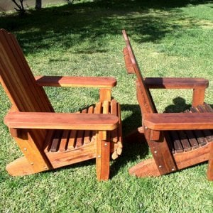 Comparison of Adirondack Chair with Standard Seat Depth with Shallower Seat Depth Option - L-R: Redwood, Old-Growth Redwood