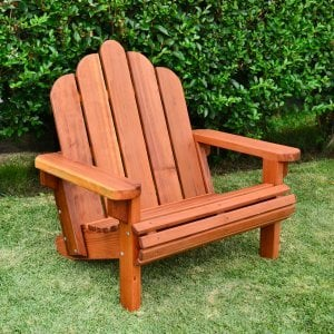 Adirondack Chair (Options: Extra Wide Size, Redwood, No Cushion, Transparent Premium Sealant).