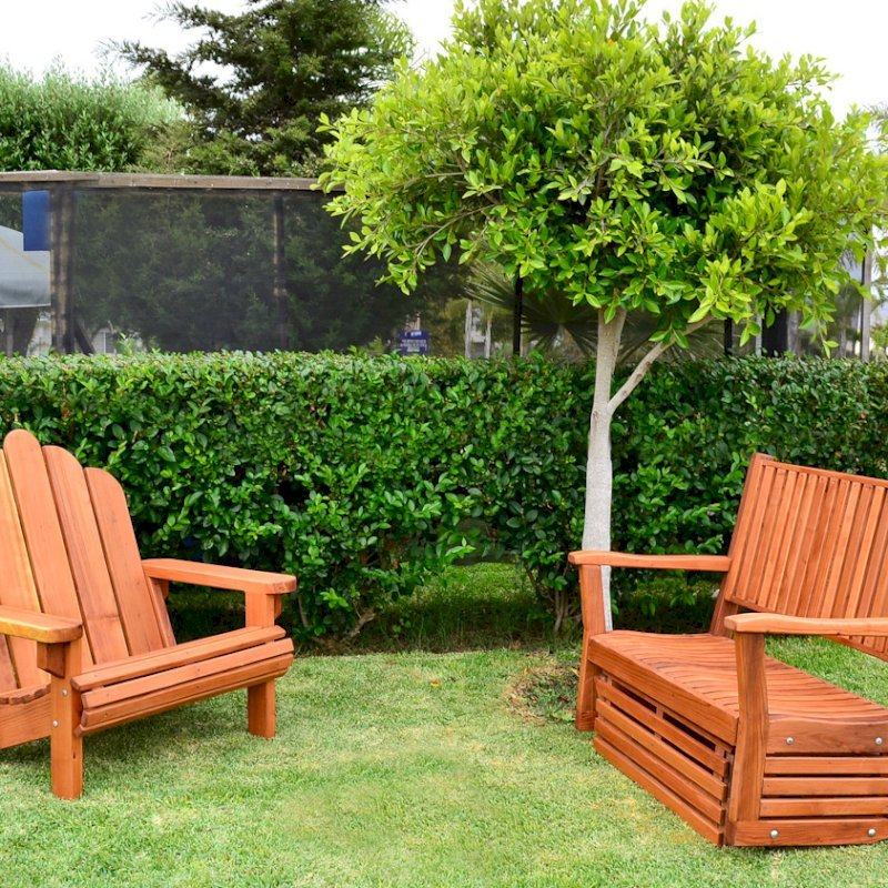 Adirondack Chair (Options: Extra Wide Size, Redwood, No Cushion, Transparent Premium Sealant). Photo also shows a double porter thayer.