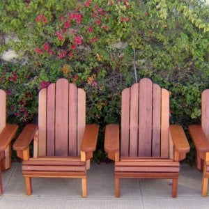 4 Adirondack Chairs (Options: Standard Size, Mature Redwood, No Cushion, Transparent Premium Sealant)