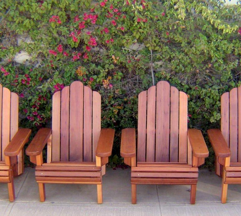 4 Adirondack Chairs (Options: Standard Size, Mature Redwood, No Cushion, Transparent Premium Sealant)