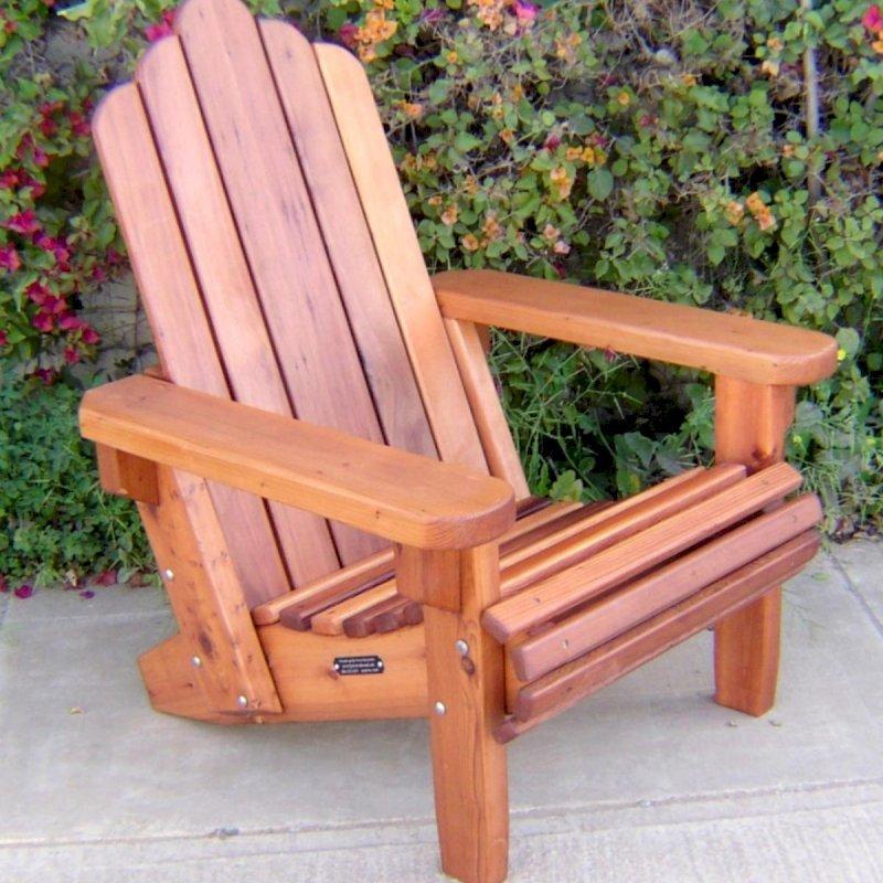 Adirondack Chair (Options: Standard Size, Mature Redwood, No Cushion, Transparent Premium Sealant)