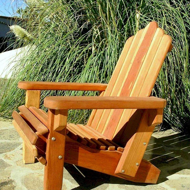 Adirondack Chair (Options: Standard Size, Redwood, No Cushion, Transparent Premium Sealant).