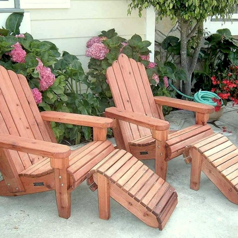 Adirondack Chairs and Ottomans (Options: Standard Size, Mature Redwood, No Cushion, Transparent Premium Sealant).