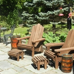 Adirondack Chairs (Options: Standard Size, Old-Growth Redwood, No Cushion, Yes Add Flat Ottoman, Transparent Premium Sealant). Photo courtesy of Rich Ceragioli. 7 year old chairs still looking great!