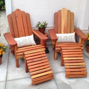 Adirondack Chairs (Options: Standard Wide Size, Redwood, Custom Cushion, With Ottoman, Transparent Premium Sealant) with Mini Round Side Table. Photo Courtesy of Elizabeth Davies of The Villages, Florida.