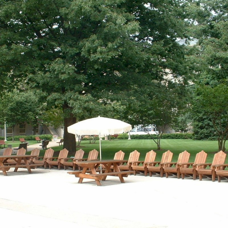 Adirondack Chairs (Options: Standard Size, Mature Redwood, No Cushion, Transparent Premium Sealant). Photo Courtesy of U.S. Pentagon.