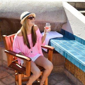 "Cocktail Bar Stool (Options: Redwood, Arms, Swivel Seat, 23"" H, No Cushion, Transparent Premium Sealant). Photo Courtesy of The Estero Beach Resort, Ensenada, Mexico."