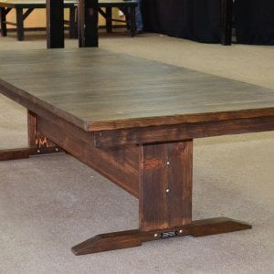 Conference Table (Options: 10 ft x 48 inches Wide Tabletop, Redwood, Slightly Rounded Corners, Coffee Stain Sealant).