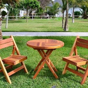 Redwood Round Folding Table (Options: Small 30 inch Diameter, 2 Folding Chairs, Redwood, No Cushions, Standard Tabletop, Checkerboard Design Tabletop, No Umbrella Hole, Transparent Premium Sealant).