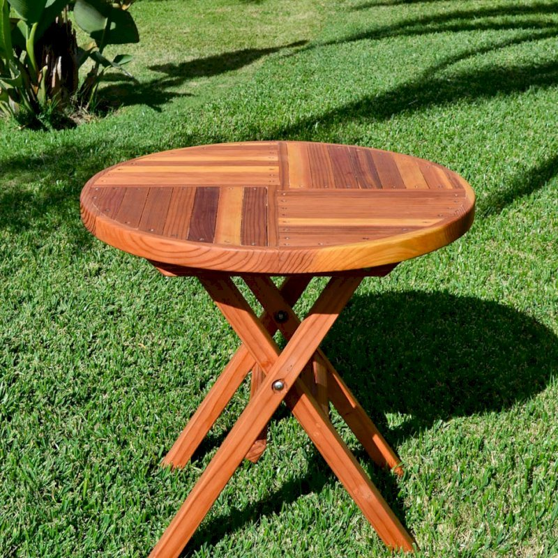 Redwood Round Folding Table (Options: Small 30 inch Diameter, No Seating, Redwood, Standard Tabletop, Checkerboard Design Tabletop, No Umbrella Hole, Transparent Premium Sealant).