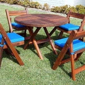 "Redwood Round Folding Table (Options: 42"", 4 Folding Chairs, Old-Growth Redwood, Custom Seat Cushions, Standard Tabletop, Checkerboard Design Tabletop, Visible Screw Placement, No Umbrella Hole, Transparent Premium Sealant)."