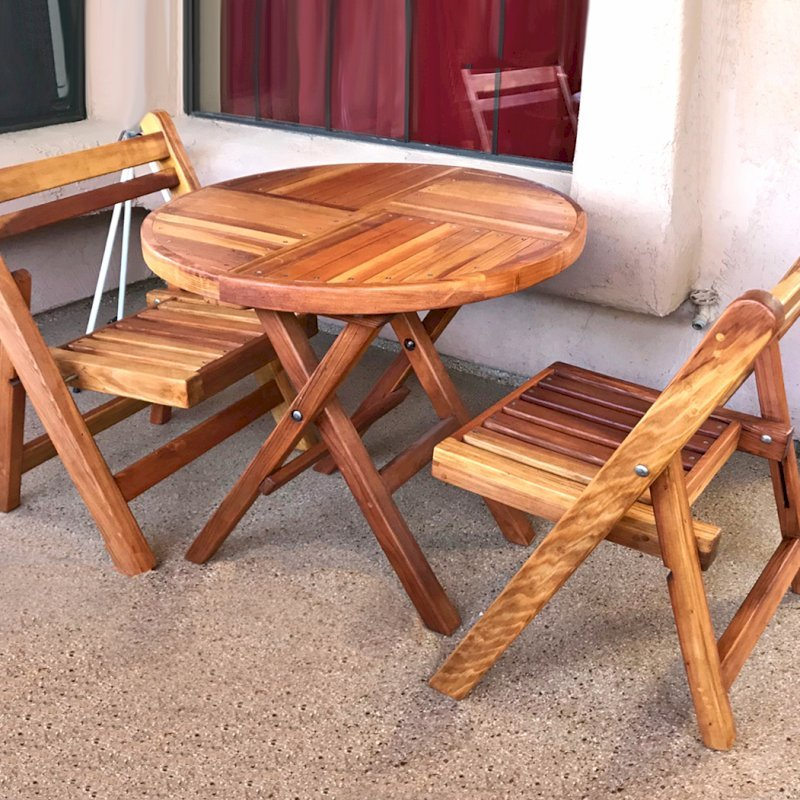 Redwood Round Folding Table (Options:Small 30 inch Diameter, 2 Folding Chairs, Redwood, No Cushions, Standard Tabletop, Checkerboard Design Tabletop, No Umbrella Hole, Transparent Premium Sealant). Photo Courtesy of L. Tucson, AZ.