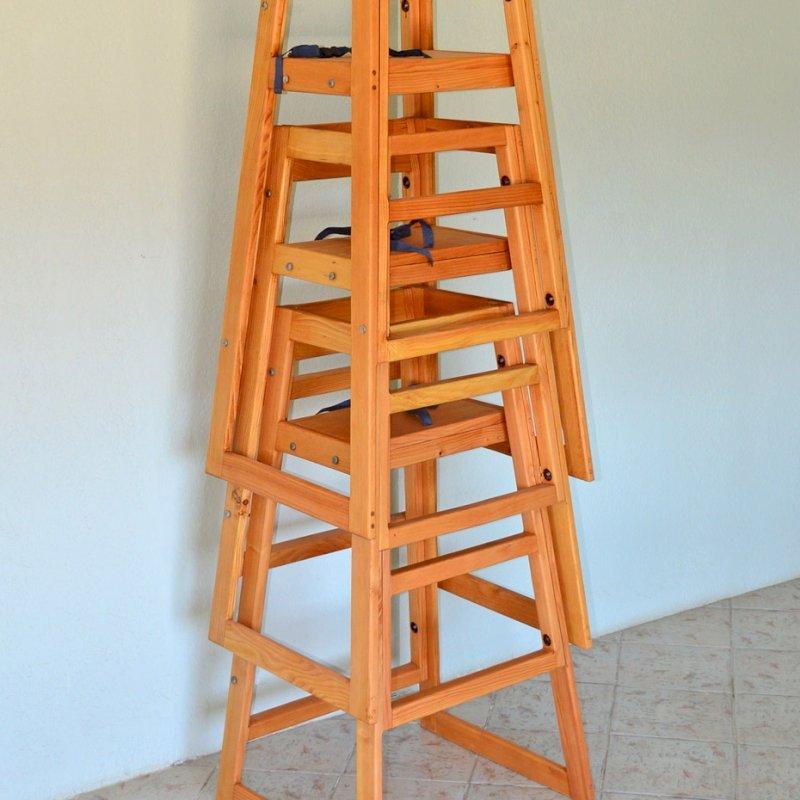 Restaurant High Chair (Options: Douglas-fir, 45 3/4 inches Tall, No Cushion, Transparent Premium Sealant).