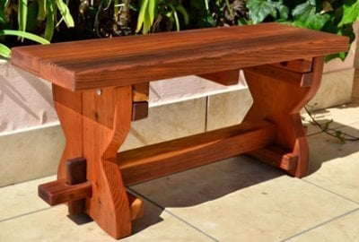 Redwood Trestle Bench