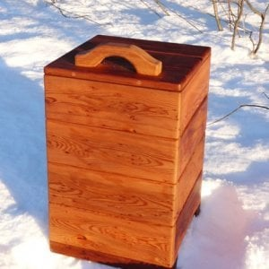 "Regal Refuse Receptacle (Options: Mature Redwood, Unattached to Receptacle, No Casters, Transparent Premium Sealant). In Comments enter the size you'd like. This box is 18"" W x 18"" Deep x 24 ""H external dimensions not counting handle height). Photographed in gorgeous early winter snow by Mr. Eirik"
