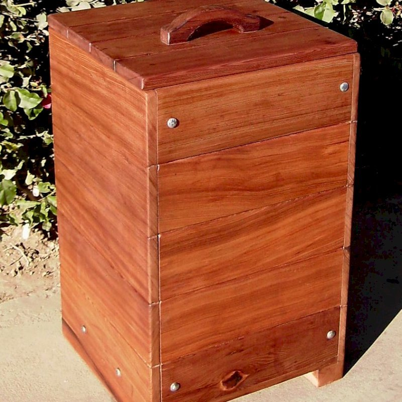 "Regal Refuse Receptacle (Options: Old-Growth Redwood, Unattached to Receptacle, No Casters, Transparent Premium Sealant). In Comments enter the size you'd like. This box is 24""W x 24""D x 36""H external dimensions not counting handle height)."