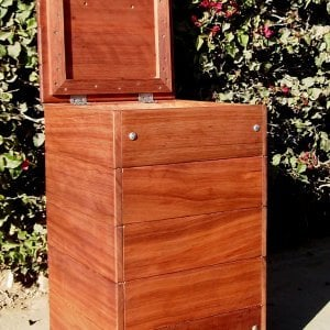 "Regal Refuse Receptacle (Options: Old-Growth Redwood, No Casters, Transparent Premium Sealant). In Comments enter the size you'd like. This box is 24""W x 24""D x 36""H external dimensions not counting handle height)."