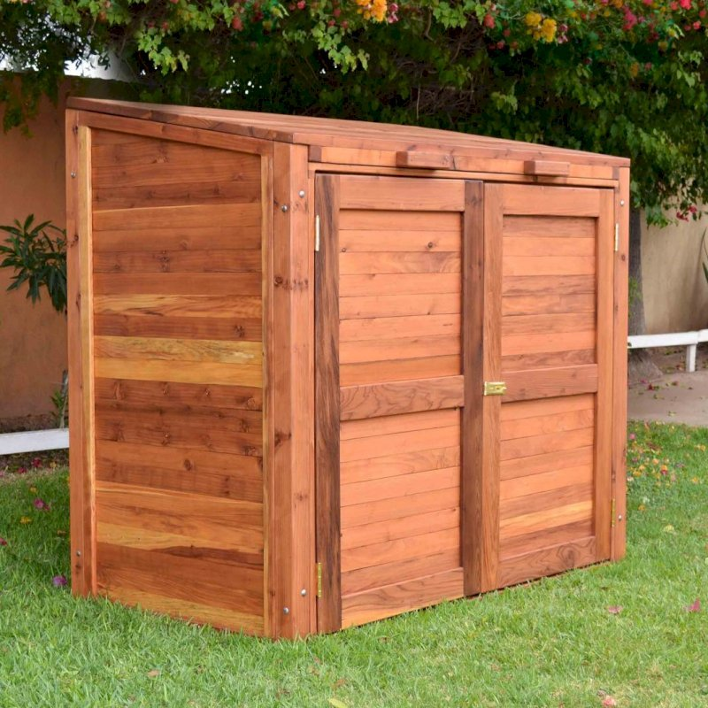 "Custom Refuse Receptacle (Options: Redwood, No Casters, Transparent Premium Sealant). We can build an attractive box to hide your refuse in any size and shape. Size shown: 30"" W x 60"" L x 48"" H."