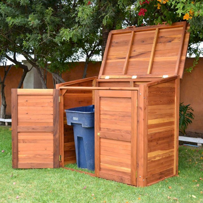 """Custom Refuse Receptacle (Options: Redwood, No Casters, Transparent Premium Sealant). We can build an attractive box to hide your refuse in any size and shape. Size shown: 30"""" W x 60"""" L x 48"""" H."""