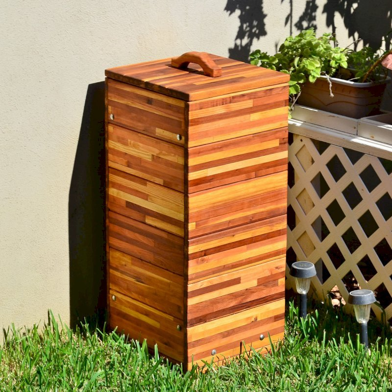 "Regal Refuse Receptacle (Options: Custom Size, Mosaic Eco-Wood, 18""W x 18""D x 36""H, Attached to Receptacle, No Casters, Transparent Premium Sealant)."