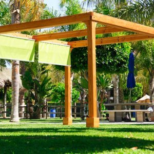 Retractable Shade Canopy Pergola Kit (Options: 12' L x 12' W, No Privacy Panel, Douglas-Fir, 9ft Post Height, No Electrical Wiring Trim, Gale Wind Anchor Kit, No Post Decorative Trim, No Ceiling Fan Base, No Curtain Rods Transparent Premium Sealant).
