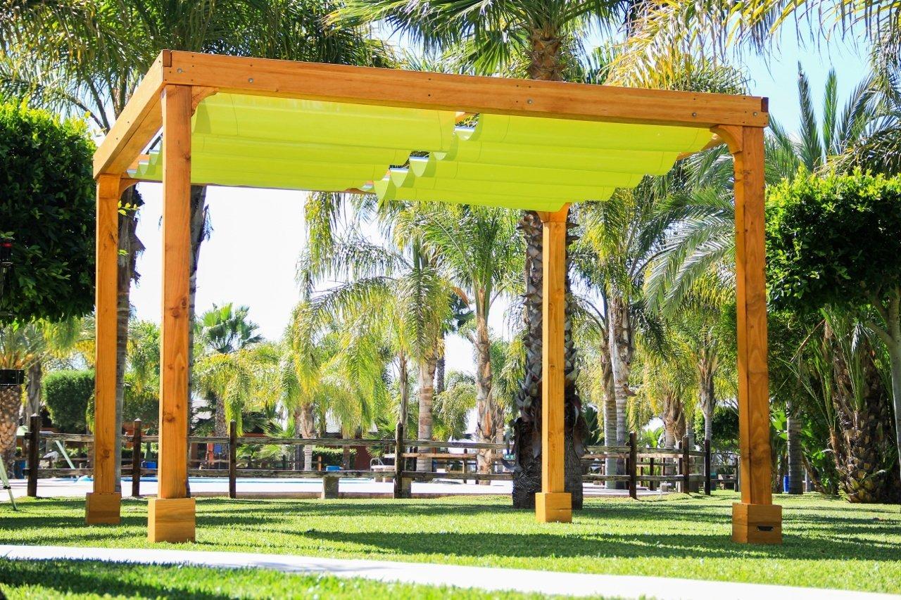 - Retractable Shade Canopy Pergola Kit, Custom Made From Redwood