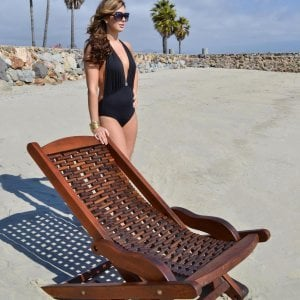 Rio Hammock Chair (Options: Old-Growth Redwood, no pillow, Transparent Premium Sealant). Photo Courtesy of Estero Beach Resort, Ensenada, México and Ms. Hayley Hall of Sonoma, CA.