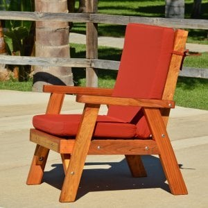 Robin's Retro Patio Chair (Options: Redwood, Custom Seat Cushion, Transparent Premium Sealant)