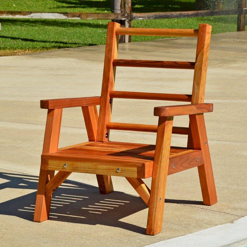Robin's Retro Patio Chair (Options: Redwood, No Cushion, Transparent Premium Sealant)
