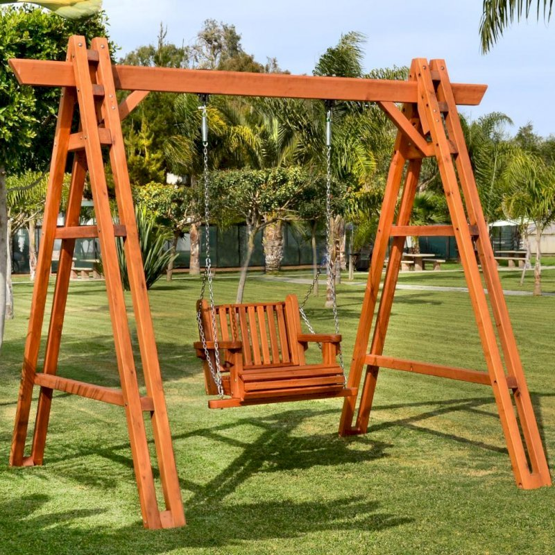 Rory's Armchair Swing Sets (Options: Mature Redwood, Classic Design Seat, No Engraving, Transparent Premium Sealant)