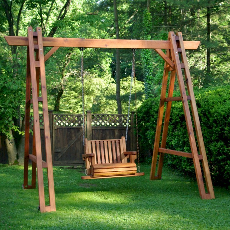 Rory's Armchair Swing Sets (Options: Mature Redwood, Classic Design Seat, No Engraving, Transparent Premium Sealant)Photo Courtesy of Anita S. of  Philadelphia, Pennsylvania.