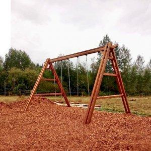 Rory's Giant Playground Swing Set (Options: 3 Seats, Redwood, 3 Standard Swing Seats, Transparent Premium Sealant). Photo Courtesy of A. Caniff of Lake Stevens, Washington.